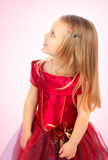 красный цвет девушки платья Стоковая Фотография