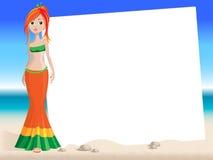 красный цвет девушки пляжа Стоковое Изображение