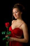 красный цвет девушки поднял Стоковое Фото