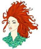 красный цвет девушки с волосами Стоковое Фото