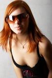красный цвет девушки с волосами Стоковые Фотографии RF