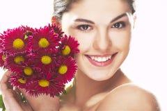 красный цвет девушки цветка симпатичный стоковые изображения rf