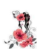красный цвет девушки цветков Иллюстрация вектора