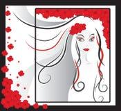 красный цвет девушки цветков Стоковая Фотография RF