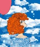 красный цвет девушки шарика Стоковые Фото