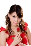 красный цвет девушки шикарный поднял Стоковое Изображение RF
