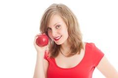 красный цвет девушки яблока Стоковые Изображения RF