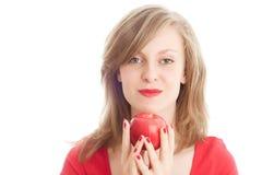 красный цвет девушки яблока Стоковые Фото
