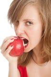 красный цвет девушки яблока Стоковые Изображения