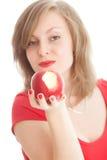 красный цвет девушки яблока Стоковое Изображение