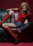 красный цвет девушки Стоковые Изображения RF