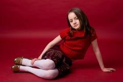 красный цвет девушки Стоковые Фото