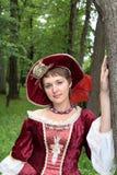 красный цвет девушки bonnet Стоковое фото RF