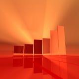 красный цвет диаграммы в виде вертикальных полос Стоковая Фотография RF