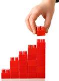 красный цвет диаграммы в виде столбов Стоковое фото RF