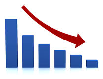 красный цвет диаграммы склонения дела стрелки Стоковые Фото