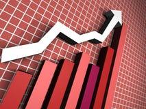 красный цвет диаграммы стрелки 3d Стоковая Фотография
