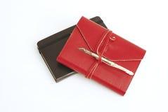 красный цвет дневника книги старый стоковое изображение