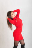 красный цвет девушки платья тонкий Стоковое фото RF