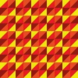Красный цвет желтого цвета треугольника полигона вектора картины безшовный Стоковая Фотография
