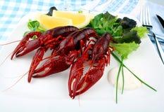 Красный цвет закипел crayfish с салатом, лимоном и столовым прибором Стоковые Фото