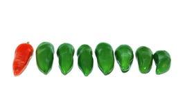 красный цвет зеленого перца Стоковые Фотографии RF