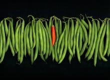 красный цвет зеленого перца chili фасолей стоковое изображение rf