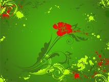 красный цвет зеленого цвета цветка предпосылки Бесплатная Иллюстрация