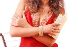 красный цвет золота девушки платья мешка Стоковая Фотография RF