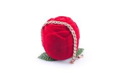 красный цвет золота подарка браслета Стоковое Изображение