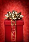 красный цвет золота подарка рождества Стоковое Изображение