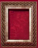 красный цвет золота рамки парчи предпосылки Стоковое Изображение