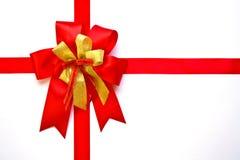 красный цвет золота рождества смычка Стоковая Фотография