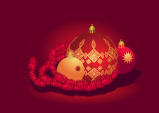 красный цвет золота рождества шарика Стоковые Фото