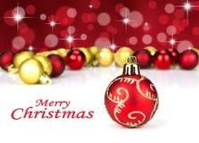 красный цвет золота рождества baubles Стоковые Изображения