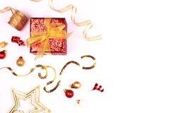 красный цвет золота украшений рождества Стоковая Фотография