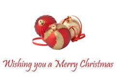 красный цвет золота украшения рождества шариков Стоковое Изображение