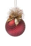 красный цвет золота цветка украшения рождества шарика Стоковое фото RF