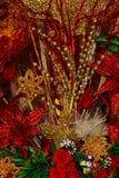 красный цвет золота украшений рождества Стоковая Фотография RF