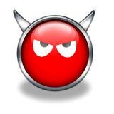 красный цвет иконы дьявола лоснистый Стоковые Изображения