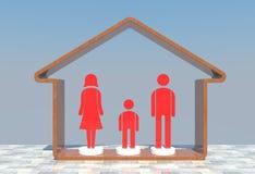 красный цвет иконы семьи Стоковое Фото
