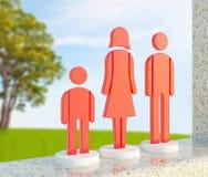 красный цвет иконы семьи Стоковое Изображение