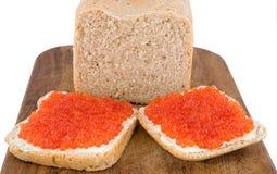 красный цвет икры хлеба Стоковое Изображение