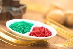 Красный цвет и зеленый цвет брызгают Стоковое Фото