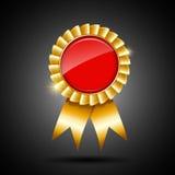 Красный цвет и золото тесемка победителя награждает бесплатная иллюстрация