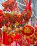 Красный цвет и колоколы китайца золота стоковое фото rf
