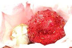 Красный цвет и орнаменты золота Стоковое фото RF
