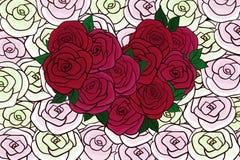 Красный цвет и поздравительная открытка белых роз Стоковые Фотографии RF