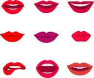 Красный цвет и поднял целующ и усмехаясь значки губ шаржа декоративные для представления партии vector иллюстрация Стоковое Изображение RF