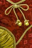 Красный цвет и предпосылка материала рождества золота Стоковая Фотография RF
